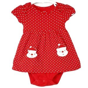Carters Christmas Bodysuit Red Polka Dot Santa